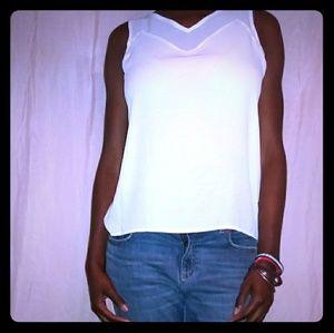 INC International Concepts White Sleeveless Blouse